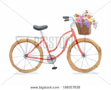 Vector illustration of retro bicycle. Types of bike: road bicycle, city, urban bike, old, cruiser. Vintage bicycle in watercolor style. Bike for girl with wooden basket, crate full of flowers. Red.