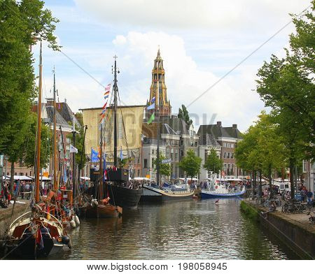Zomerwelvaart 2017 at the Hoge der Aa in the city of Groningen. The Netherlands