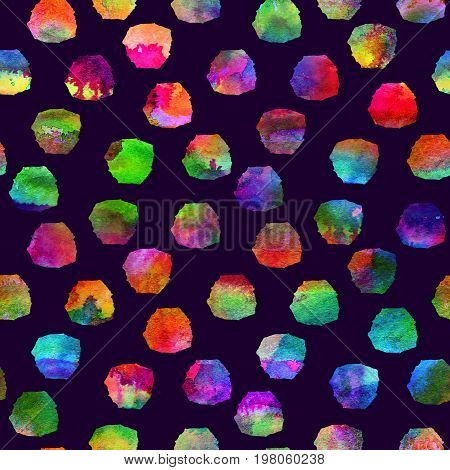 colorful seamless pattern with brush blots and spots. Rainbow color on violet background. Hand painted grange texture.