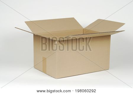 open cardboard box on white background, brown color
