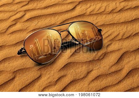 Concept Old Sand & New Building Reflections on Sunglass