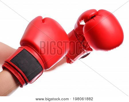 Isolated Hands In Red Boxing Gloves On White Background