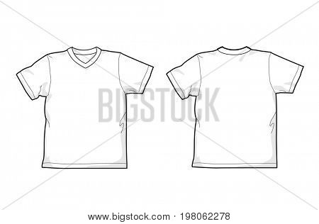 White T-shirt - back and front, V-neck, easy colorable
