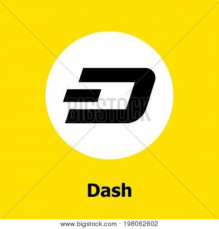 Dash criptocurrency blockchain flat icon a yellow background. Vector dash sign.