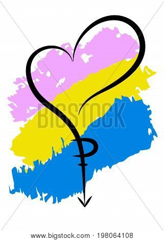 Symbol pansexual. Background with original colors for gay parade. Unconventional sexual orientation. Vector design