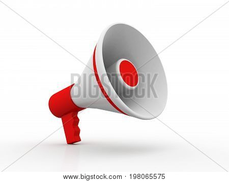 Red megaphone or loudspeaker in the design of information related to communication. 3d illustration
