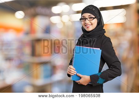 Female young student arab arabian background view