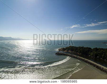 Aerial View Barra Da Lagoa Beach In Florianopolis, Brazil. July, 2017.