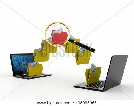 Two laptop computers with file, folder or documents transferring between each other. 3d render