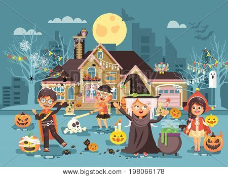 Stock vector illustration cartoon characters children Trick-or-Treat, boy, girl costumes, fancy dresses celebrate holiday party Happy Halloween, decorated pumpkins, skeletons, volatile mice flat style