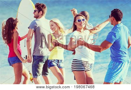 Party friends beach leisure fun group beautiful