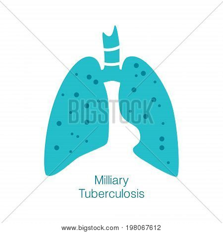 Vector silhouette medical illustration of human body organ - lungs with trachea. Logo template for clinic, hospital. Symbol for milliary tuberculosis. Health care of respiratory system