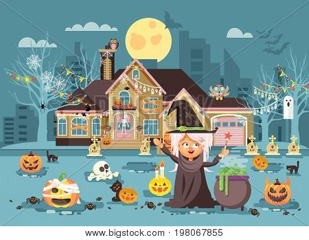 Stock vector illustration cartoon character child Trick-or-Treat, girl costumes, fancy dresses witch conjures cauldron celebrate holiday party Happy Halloween, decorated pumpkins, skeletons flat style