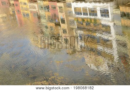 Beautiful colours of houses reflected in Onyar River Girona CataloniaSpain