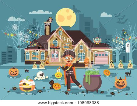 Stock vector illustration banner cartoon character child Trick-or-Treat, boy costumes, fancy dresses vampire, ghoul, bloodsucking celebrate holiday party Happy Halloween, decorated pumpkins flat style
