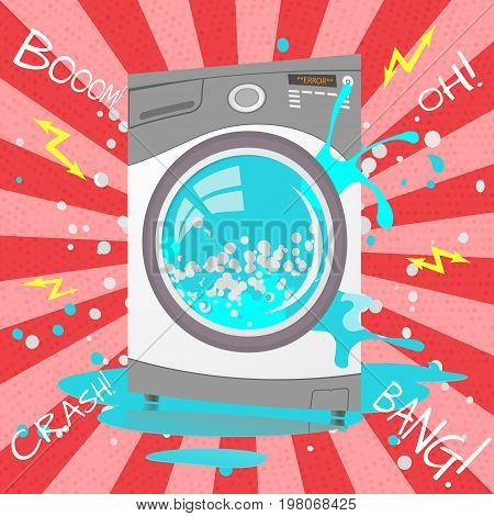 Broken Washing Machine In Cartoon Style. Bubbles,sparks