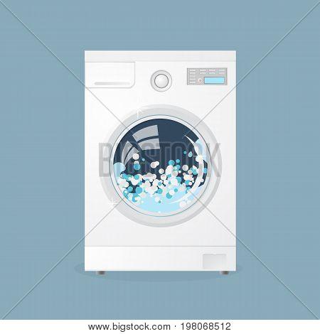 Modern Washing Machine Isolated On Grey Background