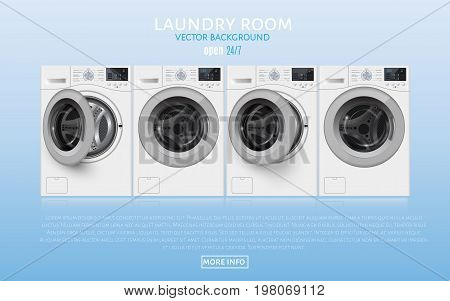 Laundry Room Realisic Vector Illlustration On Blue Background