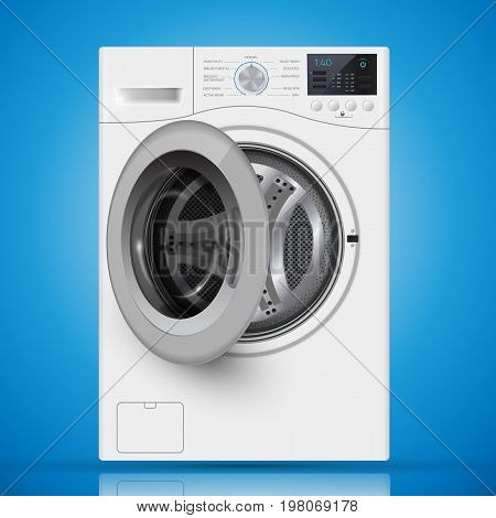 Realistic White Front Loading Washing Machine On A  Blue Backgro