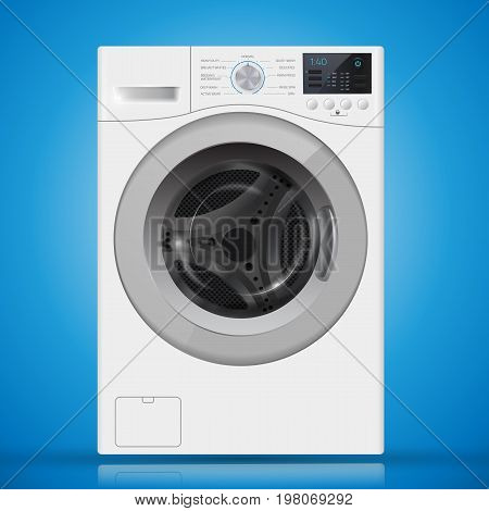 Realistic  White Front Loading Washing Machine On A  Blue Backgr