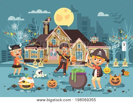 Stock vector illustration banner brochure cartoon character child Trick-or-Treat, boy costume fancy dresses Viking pirate with sword, vampire celebrate holiday party Happy Halloween pumpkin flat style