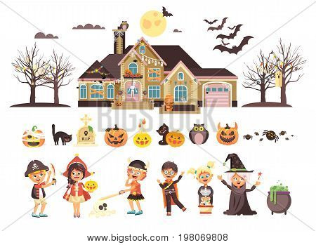 Stock vector illustration isolated children Trick-or-Treat boy, girl, costumes fancy dresses holiday party Happy Halloween, horror house decorated pumpkins, skeletons, bats flat style white background