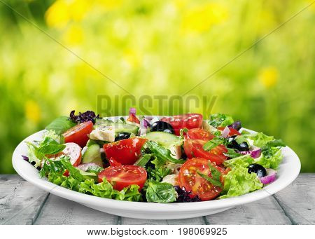 Plate tasty salad healthy food natural food weight loss low fat