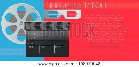 Vector illustration. Movie cinema premiere poster design template. Glasses filmstrip, clapboard, tickets.