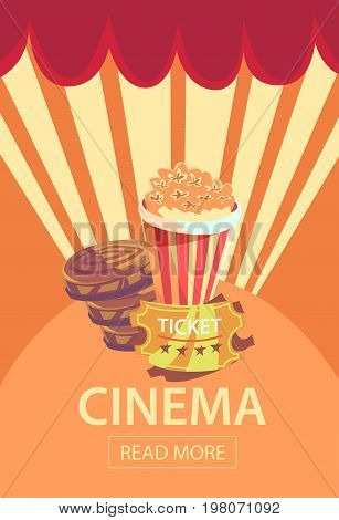 Vector illustration. Movie cinema premiere poster design template. Popcorn, filmstrip, clapboard, tickets.