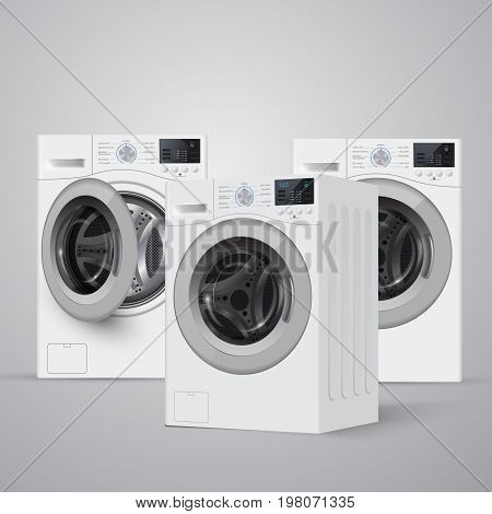 Realisic Vector Washers On Grey Background. Perspective View.