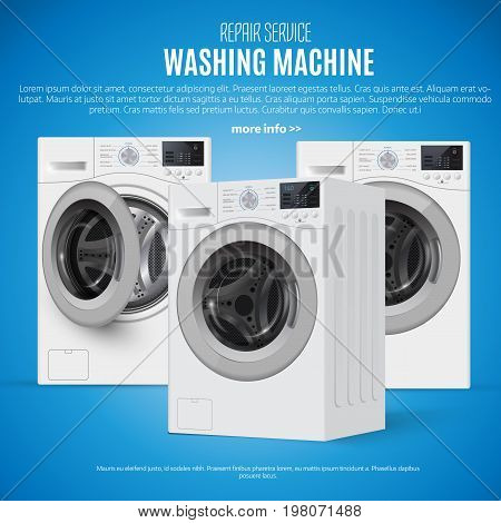 Realisic Vector Washers On  Blue Background. Perspective View