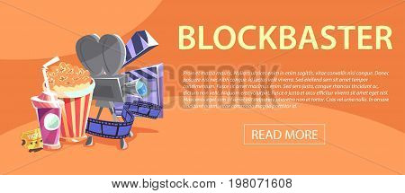 Cinematography horizontal banner with movie time and cinema festival design compositions in retro style. Vector illustration