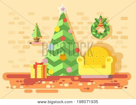Stock vector illustration cartoon home interior comfortable chair, room with Christmas tree spruce, happy New Year, Merry Christmas wreath, decorated gifts, celebrate flat style element motion design
