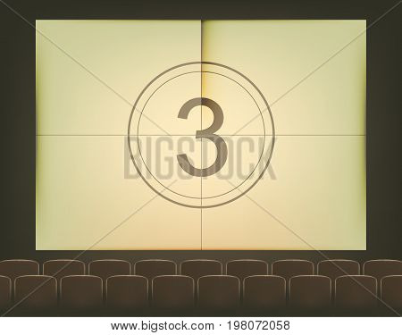 Film countdown 3, empty cinema hall, time counting on the screen