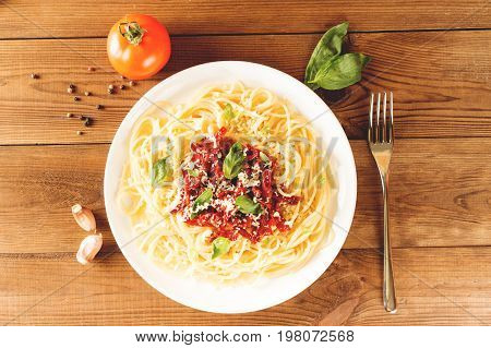 Italian Dish - Pasta With Sundried Tomato And Basil. Top View