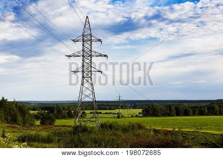 Support of high-voltage transmission line against the sky