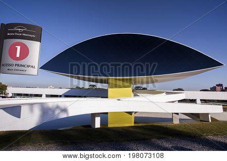 Curitiba, Brazil - July, 2017: Oscar Niemeyer Museum, Or Mon, In Curitiba, Parana State, Brazil.