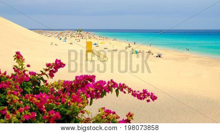 View on the beach Playa de Matorral in Morro Jable on the Canary island Fuerteventura Spain.