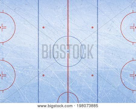 Vector of ice hockey rink. Textures blue ice. Ice rink. Illustration background.