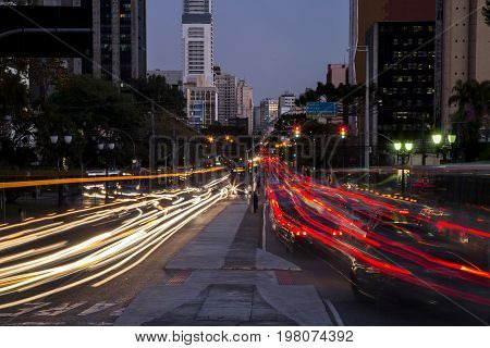 Traffic in the city of Curitiba. July 2017.