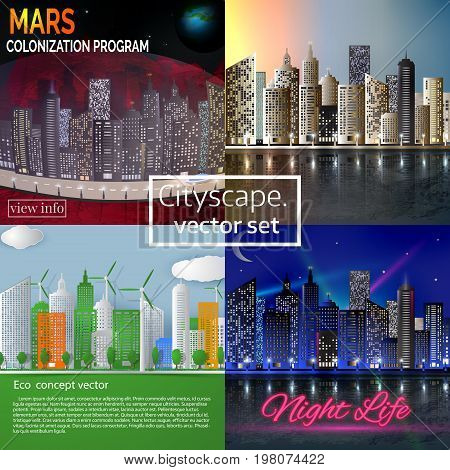 Cityscape vector illustration set. Mars colonization program. Morning cityscape. Night cityscape. Eco concept city skyline in paper cut style.