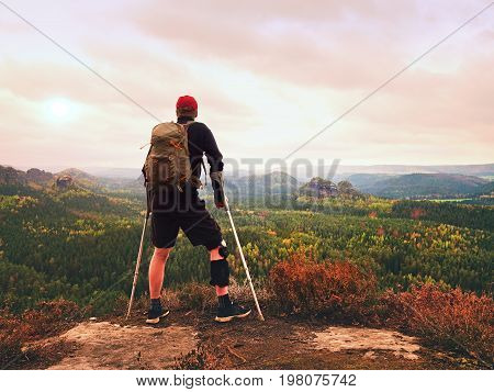Man Hiker Wearing Supportive Leg Brace And Gainst The Cruthes. Natural Forest Park