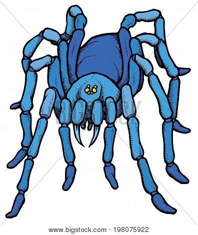 Cartoon stylized blue tarantula spider - vector illustration