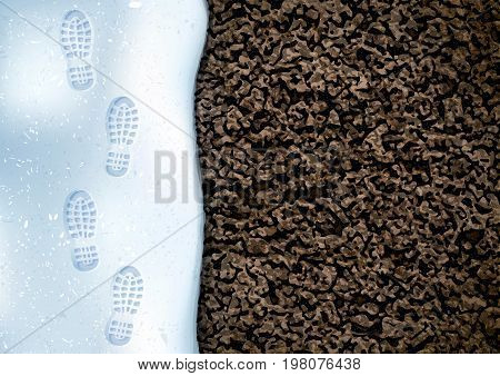 Clear deep footprints on white winter snow of a pair of boots. Track in snow. Overhead view. Image of soil texture. Vector background.