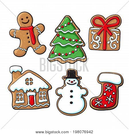 Set of glazed homemade Christmas gingerbread cookies, sketch style vector illustration isolated on white background. Christmas gingerman, boot, tree, house, present and snowman gingerbread cookies