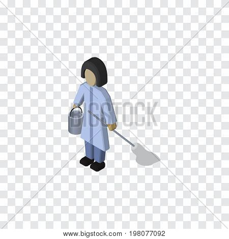 Housemaid Vector Element Can Be Used For Housemaid, Cleaner, Housekeeper Design Concept.  Isolated Cleaner Isometric.
