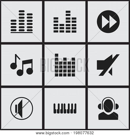 Set Of 9 Editable Music Icons. Includes Symbols Such As Dj, Sound Controlling, Mute And More