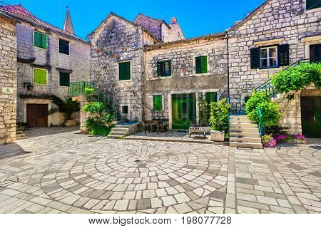 View at old square in 2400 years old Starigrad town, Island Hvar, oldest place in Croatia, Europe.