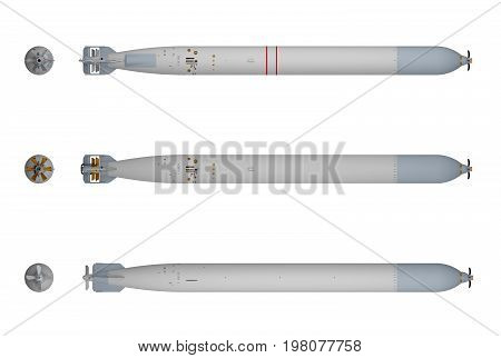 Three kinds of torpedoes isolated on white. 3d rendering