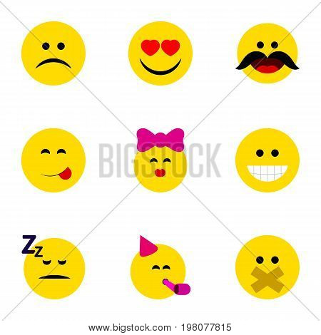 Flat Icon Emoji Set Of Hush, Cheerful, Asleep And Other Vector Objects